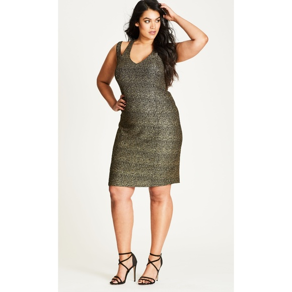 NWT City Chic Plus Size Gold Metallic Glam Dress NWT